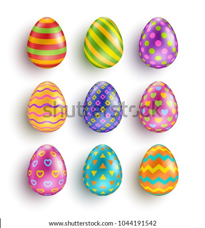 Color Easter eggs set with different patterns. Wave, hearts and stripes, dots and triangles ornaments. Vector illustration
