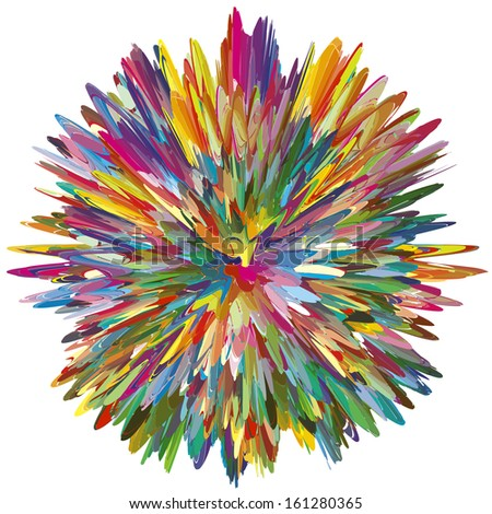 Color Explosion as symbol for a creative mind. Abstract vector image with 216 different bright and vivid colors