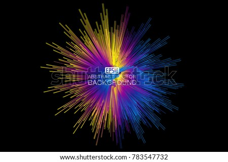 Color Explosion series. Creative arrangement of colorful streaks as a concept metaphor on subject of design, art and imagination stock photo