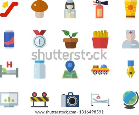Color flat icon set barrier flat vector, glass jar, mushroom, French fries, lemonade, home plant, physician, hospital bed, nurse, computer chart, ink pen, lunar rover, medal, escalator fector, globe