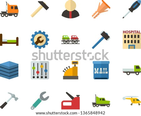 Color Flat Icon Set - big data server flat vector, cash register, hospital, settings, citizen, bed, mailbox, hammer, wrench, screwdriver, furniture hardware, construction stapler, open van