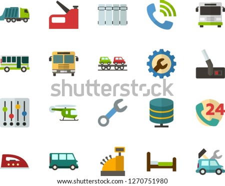 Color Flat Icon Set - big data server flat vector, phone call, cash register, settings, bed, radiator, iron, hoover, wrench, construction stapler, bus, minibus, freight train car carrier, front view