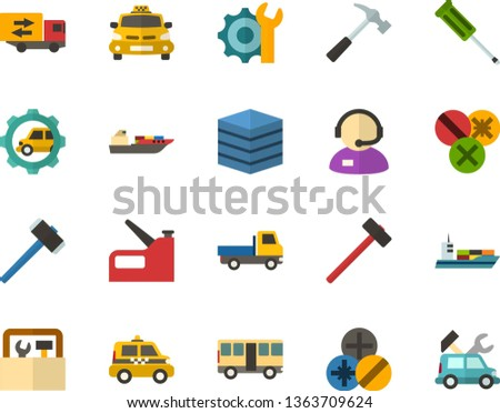 Color Flat Icon Set - big data server flat vector, telephone operator, settings, trucking industry, hammer, screwdriver, types of screwdrivers, construction stapler, toolbox, taxi, bus, open van