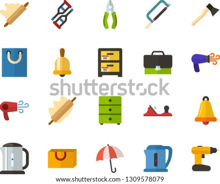Color Flat Icon Set - briefcase flat vector, school bell, archive, umbrella, rolling pin, packet, crutches, hairdryer, electric kettle, axe, hacksaw for metal, planer, pliers, cordless drill
