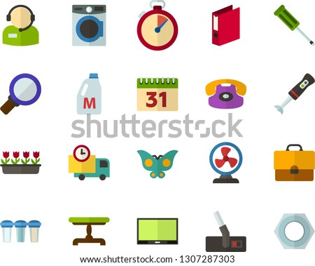 Color Flat Icon Set - butterfly holiday flat vector, stopwatch, auto delivery, briefcase, calendar, milk, folder, telephonist, magnifier, vintage table, indoor plants, phone, washing machine, hoover