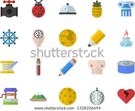 color flat icon set canned food