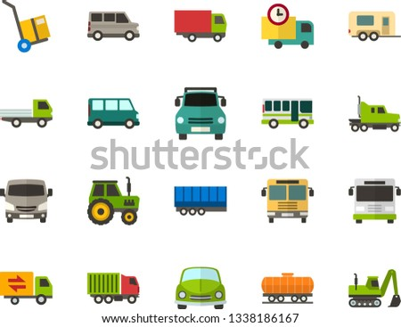 Color Flat Icon Set - car flat vector, auto delivery, trolley, lorry, trucking industry, bus, minibus, open van, motorhome, semi trailer, truck cab, freight train, pickup front view, tractor