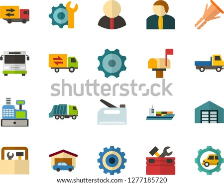Color Flat Icon Set - cash register flat vector, gear, settings, garage, warehouse, citizen, trucking industry, mailbox, toolbox, furniture hardware, construction stapler, open van, bus front view