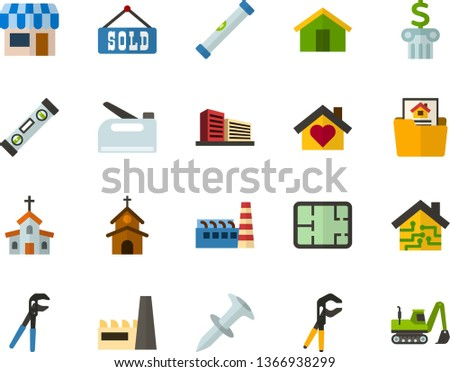 Color Flat Icon Set - church flat vector, house, shop, bank, room plan, mortgage, sold, multistory building, sweet home, smart, factory, level, press pliers is, dowel nail, construction stapler