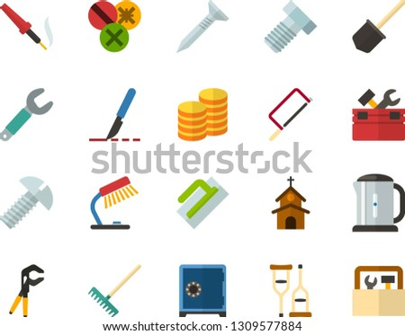 Color Flat Icon Set - church flat vector, table lamp, safe, coins, scalpel, crutches, electric kettle, toolbox, hacksaw for metal, trowel, wrench, tapping screw, press pliers is, bolt, shovel, rake