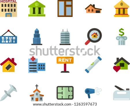 Color Flat Icon Set - church flat vector, university, bank, hospital, house with garage, room plan, rent, multistory building, housing search, sweet home, smart, skyscraper, window, level, stapler