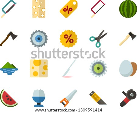 Color Flat Icon Set - discounts flat vector, poached egg, piece of cheese, watermelon, scalpel, lake, saw, axe, hacksaw for metal, office knife, scissors, wood cutter, angle grinder