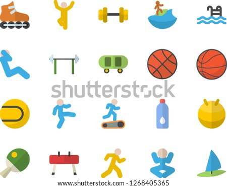 color flat icon set dumbbell
