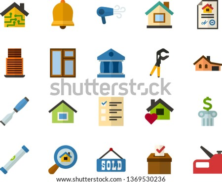 Color Flat Icon Set - Easter bell flat vector, elections, university, bank, house with garage, mortgage, sold, housing search, sweet home, smart, skyscraper, window, building level, chisel, stapler