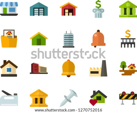 Color Flat Icon Set - Easter bell flat vector, house, bank, small shop, forest, warehouse, mortgage, multistory building, sweet home, skyscraper, factory, dowel nail, construction stapler