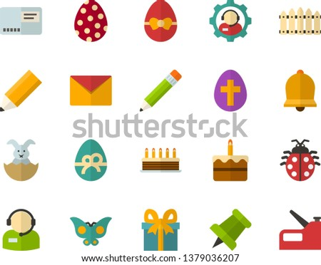 Color Flat Icon Set - easter bunny flat vector, egg, ladybug, butterfly holiday, bell, envelope, cake, gift, pushpin, telephonist, fence, pencil, construction stapler