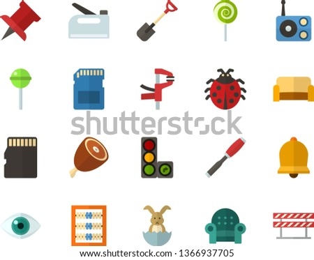 Color Flat Icon Set - easter bunny flat vector, ladybug, bell, pushpin, abacus, lollipop, ham, radio, eye, storage card, sofa, chisel, clamp, shovel, construction stapler, traffic lights