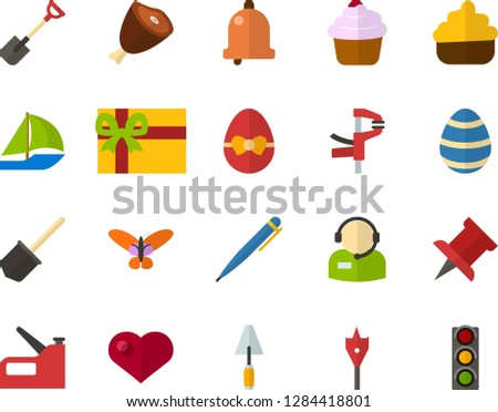 Color Flat Icon Set - Easter egg flat vector, butterfly holiday, bell, pen, pushpin, heart, cream basket, ham, gift, telephonist, spatula, clamp, feather drill, shovel, construction stapler