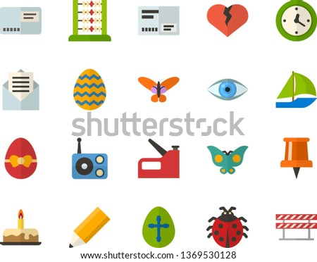 Color Flat Icon Set - Easter egg flat vector, ladybug, butterfly holiday, pushpin, abacus, letter, broken heart, envelope, cake, watch, radio, eye, pencil, construction stapler, sailboat