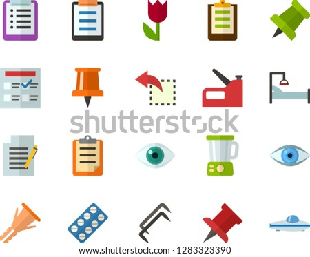 Color Flat Icon Set - easter flowers flat vector, pushpin, checklist, clipboard, exam, write file, reply, schedule, eye, packaging of tablets, hospital bed, blender, construction staples, stapler