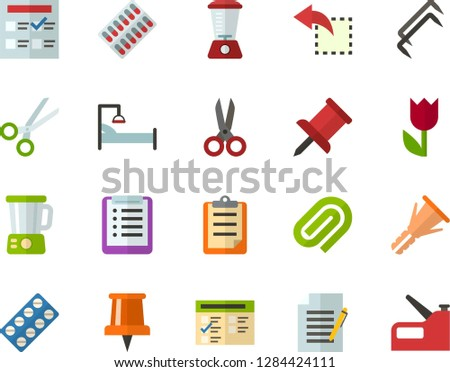 Color Flat Icon Set - easter flowers flat vector, pushpin, checklist, clipboard, exam, write file, clinch, reply, scissors, packaging of tablets, hospital bed, blender, construction staples, stapler