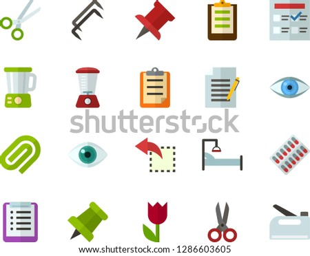 Color Flat Icon Set - easter flowers flat vector, pushpin, checklist, clipboard, exam, write file, clinch, reply, schedule, eye, scissors, packaging of tablets, hospital bed, blender, stapler