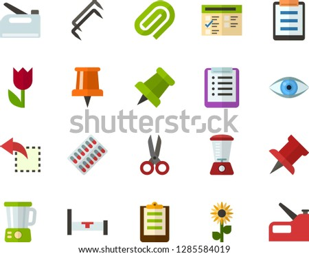 Color Flat Icon Set - easter flowers flat vector, pushpin, checklist, exam, clinch, reply, schedule, eye, scissors, packaging of tablets, hospital bed, blender, construction staples, stapler