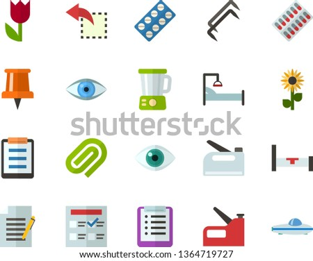 Color Flat Icon Set - easter flowers flat vector, pushpin, checklist, exam, write file, clinch, reply, schedule, eye, packaging of tablets, hospital bed, blender, construction staples, stapler