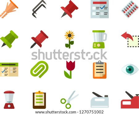 Color Flat Icon Set - easter flowers flat vector, pushpin, clipboard, exam, clinch, reply, schedule, eye, scissors, packaging of tablets, blender, construction staples, furniture hardware, stapler