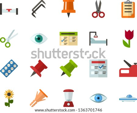 Color Flat Icon Set - easter flowers flat vector, pushpin, clipboard, exam, eye, scissors, packaging of tablets, hospital bed, blender, construction staples, furniture hardware, stapler, space boat