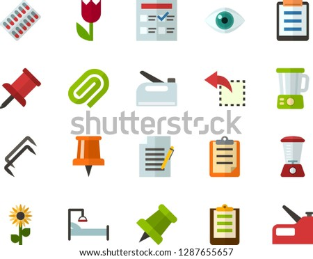 Color Flat Icon Set - easter flowers flat vector, pushpin, clipboard, exam, write file, clinch, reply, schedule, eye, packaging of tablets, hospital bed, blender, construction staples, stapler