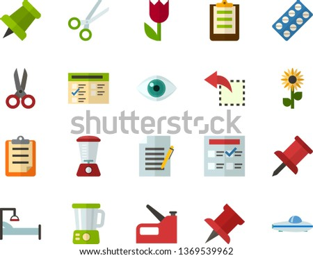 Color Flat Icon Set - easter flowers flat vector, pushpin, clipboard, exam, write file, reply, schedule, eye, scissors, packaging of tablets, hospital bed, blender, construction stapler, space boat