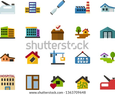 Color Flat Icon Set - elections flat vector, school, hospital, house with garage, forest, warehouse, sold, building, sweet home, smart, factory, hoisting crane, window, chisel, construction stapler