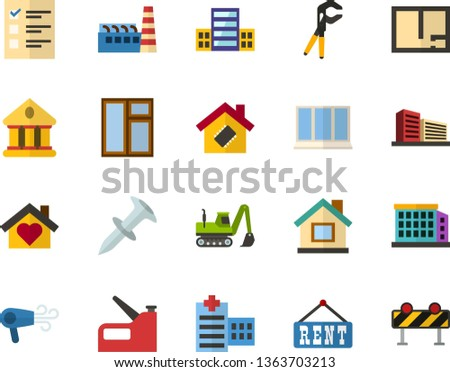 Color Flat Icon Set - elections flat vector, school, university, hospital, room plan, rent, building, multistory, sweet home, smart house, factory, window, press pliers is, dowel nail, stapler