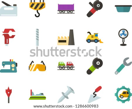 Color Flat Icon Set - factory flat vector, fan, sewing machine, spatula, basin, wrench, caliper, dowel nail, drill bit, feather, construction glasses, angle grinder, hook, stapler, freight train