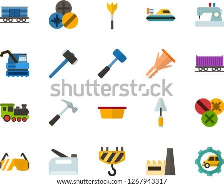 Color Flat Icon Set - factory flat vector, sewing machine, hammer, sledgehammer, spatula, basin, furniture hardware, types of screwdrivers, feather drill, construction glasses, hook, stapler