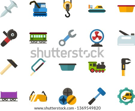 Color Flat Icon Set - fan flat vector, hammer, hacksaw for metal, sledgehammer, basin, wrench, caliper, dowel nail, types of screwdrivers, construction glasses, angle grinder, hook, stapler, freight