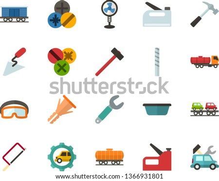 Color Flat Icon Set - fan flat vector, hammer, hacksaw for metal, spatula, basin, wrench, furniture hardware, types of screwdrivers, drill bit, construction glasses, stapler, freight train, cistern