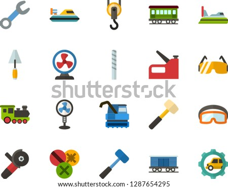 Color Flat Icon Set - fan flat vector, sledgehammer, spatula, wrench, types of screwdrivers, drill bit, construction glasses, angle grinder, hook, stapler, old train, freight, hovercraft