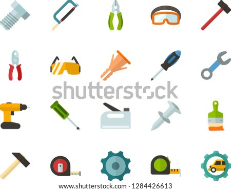 Color Flat Icon Set - gear flat vector, hammer, hacksaw for metal, measuring tape, wrench, screwdriver, pliers, bolt, dowel nail, furniture hardware, construction glasses, cordless drill, stapler