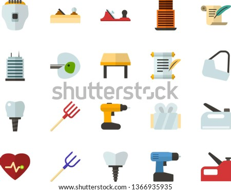 Color Flat Icon Set - history flat vector, heart chart, ivf, gypsum, dental implant, table, skyscraper, depilator, planer, cordless drill, hayfork, construction stapler