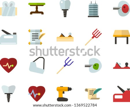 Color Flat Icon Set - history flat vector, heart chart, ivf, gypsum, dental implant, vintage table, skyscraper, planer, cordless drill, hayfork, construction stapler