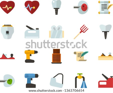 Color Flat Icon Set - history flat vector, heart chart, ivf, gypsum, dental implant, water supply, skyscraper, depilator, planer, cordless drill, hayfork, construction stapler