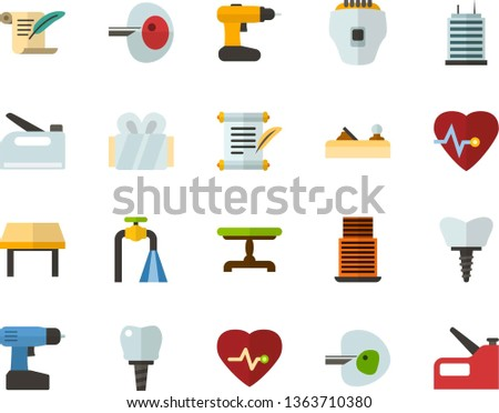 Color Flat Icon Set - history flat vector, heart chart, ivf, gypsum, dental implant, water supply, vintage table, skyscraper, depilator, planer, cordless drill, construction stapler