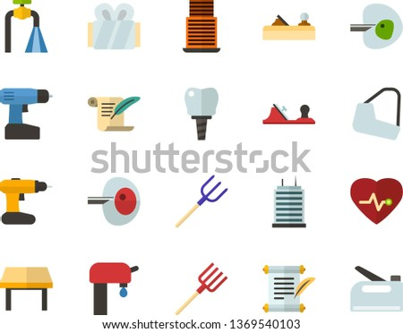 Color Flat Icon Set - history flat vector, heart chart, ivf, gypsum, dental implant, water supply, table, skyscraper, planer, cordless drill, hayfork, construction stapler