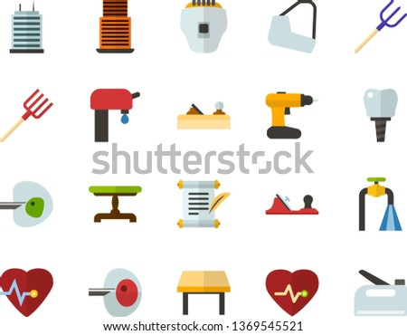 Color Flat Icon Set - history flat vector, heart chart, ivf, gypsum, dental implant, water supply, vintage table, skyscraper, depilator, planer, cordless drill, hayfork, construction stapler