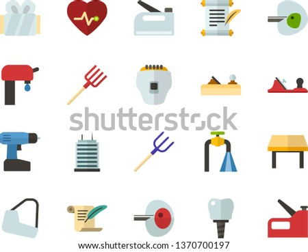 Color Flat Icon Set - history flat vector, heart chart, ivf, gypsum, dental implant, water supply, table, skyscraper, depilator, planer, cordless drill, hayfork, construction stapler