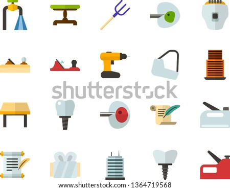 Color Flat Icon Set - history flat vector, ivf, gypsum, dental implant, water supply, vintage table, skyscraper, depilator, planer, cordless drill, hayfork, construction stapler