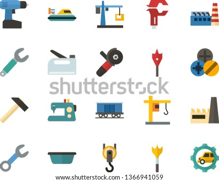 Color Flat Icon Set - hoisting crane flat vector, factory, sewing machine, hammer, basin, wrench, caliper, types of screwdrivers, feather drill, cordless, angle grinder, hook, construction stapler
