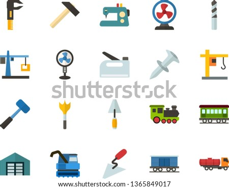 Color Flat Icon Set - hoisting crane flat vector, warehouse, fan, sewing machine, hammer, sledgehammer, spatula, caliper, dowel nail, drill bit, feather, construction stapler, old train, freight